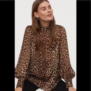 NWT - H&M Wide-cut Leopard Print Blouse